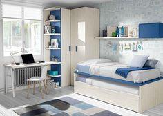Habitación juvenil con compacto bicama armario rincón y escritorio.