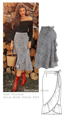 Sewing Pattern Womens Wrap Skirt Pattern Misses Wrap Skirt Fashion Sewing, Diy Fashion, Fashion Dresses, Skirt Patterns Sewing, Clothing Patterns, Kleidung Design, Rock Chic, Skirt Outfits, Dressmaking