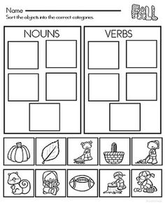 Free, Fun, and promote fine motor skills in Kindergarten and grade students with this print and Go Fall Activities for Nouns and Verbs. Part Of Speech Noun, Parts Of Speech Activities, Grammar Activities, Kids Learning Activities, Educational Activities, Teaching Ideas, 1st Grade Worksheets, Kindergarten Worksheets, Tracing Worksheets