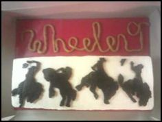 Vanilla cake with vanilla buttercream. Chocolate buttercream transfers, fondant rope. For a birthday party at the rodeo!