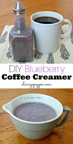 DIY Blueberry Coffee Creamer - 1 cup unsweetened almond milk 2 Tablespoons half and half 2 Tablespoons blueberry powder