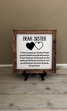 Reverse Canvas Gift For Sister Birthday Gifts Wedding Christmas Little Her Big Wall