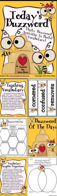 """TEACHING VOCABULARY! Expand your students' vocabulary with this amazing 130 page unit. ~ A variety of posters were created to differentiate. Depending on your students' needs, choose the relevant posters to display in your classroom. ~180 different """"buzzwords"""" as well as open word strips to create your own """"buzzwords"""". ~ A large variety of vocabulary graphic organizers and printables for individual, group and whole class lessons ~ Best practices teaching guide for vocabulary instruction. $"""