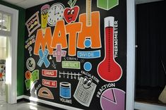 52 Ideas Decor Classroom Walls Middle School For 2019 School Hallways, School Murals, School Doors, Math Classroom Decorations, School Decorations, Fractions, Math Bulletin Boards, Math Wall, School Bathroom