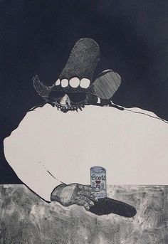 "Fritz Scholder ""Indian at the Bar"""