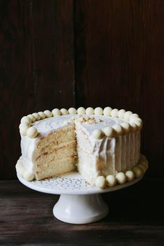 "White Chocolate Malt Cake (Note to self: there's a step in this recipe called a malted milk ""cake soak"", which sounds pretty intriguing. If I try this recipe out for a tea, I should do a trial run first, just to be sure it works before serving it to others)"