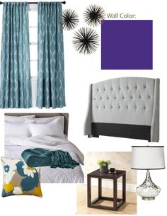 Mood Board for Peggy - Bedroom Idea #3: Purple and Teal