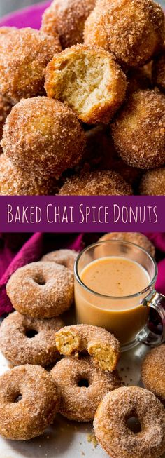 Warm and simple chai spice donuts ready in a snap! Baked, not fried. Recipe on sallysbakingaddiction.com