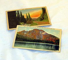Linen scenic postcards collection of 2  cir by AlchemistPantry, $3.50