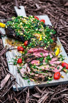 """Seared and Smoked Australian Leg of Lamb with Mint Chimichurri and Charred Heirloom Tomatoes   """"A Bachelor and His Grill"""""""