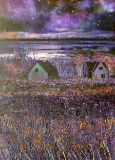 ARTFINDER: Under A Purple And Gold Sky by Martina Furlong - This is my interpretation of a scene in Co.Wexford in the south east of Ireland. It is a textured piece painted using rollers, twigs, cloths, scrapers and pa. Gold Skies, Irish Art, Colour Schemes, Paintings For Sale, Beautiful Artwork, Scene, Sky, Purple, Rollers