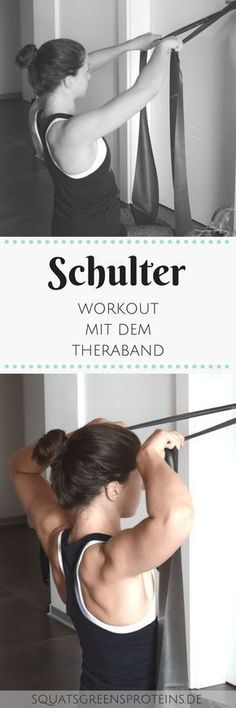Anfänger Schulter Workout mit dem Theraband - Squats, Greens Proteins