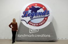 Legends Sports Grill in Florida displayed their inflatable logo nearby to let customers know about its newest location. Inflatable billboards are a great way to advertise businesses, both new and established. Eglin Air Force Base, Grill Logo, Sports Grill, Grilling, Legends, Restaurants, Logos, Crickets, Logo