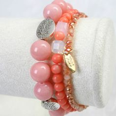 New Women Fashion Bracelet Pink Jade Coral Crystal Layered Gemstone