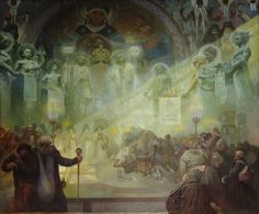 The Slav Epic #17:  The Holy Mount Athos by Alphonse Mucha
