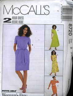 McCall's 2 hour dress sewing pattern two lengths w/belt Size A 6-10 (uncut)