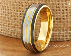 Tungsten Wedding Band Black Yellow Gold Gun by BoundlessBands