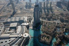 Blick von der Aussichtsplattform des Burj Khalifa Dubai in 452m Höhe