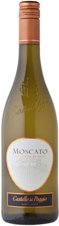$15.99 - THIS IS THE OLIVE GARDEN MOSCATO - VERY SMOOTH - 88 PTS WILFRED WONG. Mildly fruity, the pleasant Castello del Poggio Moscato delivers the full regiment of flowers, ripe apple and peaches; this is fruit bomb with a sweet tooth.  TIP: ONLY BUY ITALIAN MOSCATOS - NO BAREFOOT!!!!!