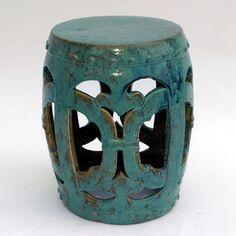 Turquoise garden stool