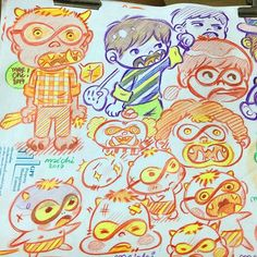 """Infinite glasses monster boy""  #characters #cartoon #drawing #pencilcolor #doodle #illustration #monster #infinite #glasses #boy #maechi"