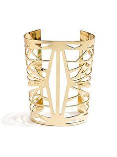 The Festival Collection - Gold-Tone Web Cuff Bracelet | GUESS.com