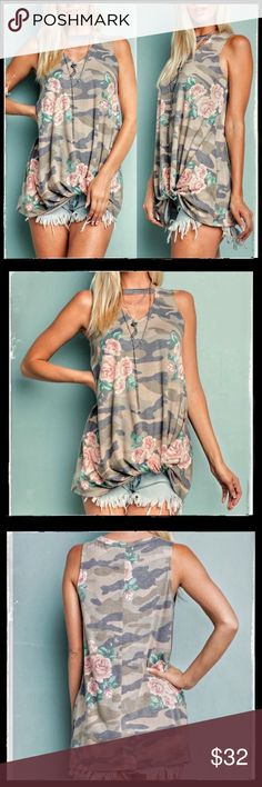 "CAMO KNOT TEE Host Pick Sporty Chic! ONLY SIZE LARGE LEFT Green & Brown With Faded Floral Print. Sleeveless Top, Keyhole collar & Knot with Gathered Hem Detail. 94% poly. 6%spandex. Bust (armpit to armpit) S-17"" M-18"" L-19"" Length S-27"" M-28"" L-29"" Angelique's Atelier Tops"