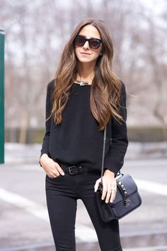 Something Navy wearing all black & a pop of red #streetstyle