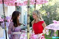 The Real Housewives of Beverly Hills Season 3 - Tea Party Pics -  Lisa Vanderpump wears Kite and Butterfly chiffon and sequins maxi dress!