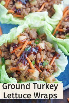 Ground Turkey Lettuce Wraps, Easy Lettuce Wraps, Ground Turkey Tacos, Lettuce Wrap Recipes, Quick Ground Turkey Recipes, Ground Turkey Dinners, Healthy Ground Turkey, Quick Healthy Meals, Healthy Lunches