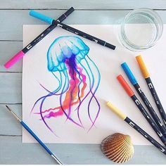 """3,689 Likes, 34 Comments - Tombow USA (@tombowusa) on Instagram: """"Who knew jellyfish could be so dreamy?  #tombow #tombowusa  #regram : @beckystarsmore"""""""