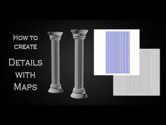 How to detail low poly model with Diffuse and Normal map. 3Ds Max and Photoshop. #tutorial #column #normalmap #architecture #3DsMax