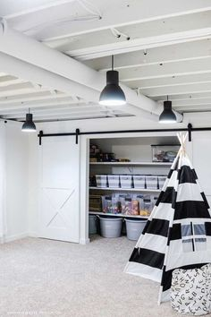 Playroom Organization: Favorite Storage Ideas - Simply Kierste Design Co. Basement Makeover, Basement Renovations, Home Remodeling, Basement Ideas, Cheap Basement Remodel, Basement Inspiration, Playroom Ideas, Unfinished Basement Ceiling, Basement Flooring