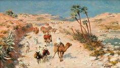Peinture d'Algérie - Peintre Espagnol, José Alsina(1850 - 1925), huile sur toile , Titre : La caravane.