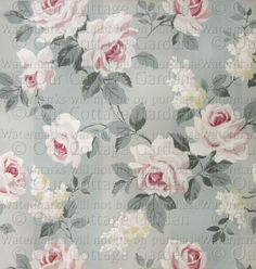 * Vintage FLORAL Wallpapers * c1940s*  Repin from ourcottagegarden.com                                                                                                                                                                                 More