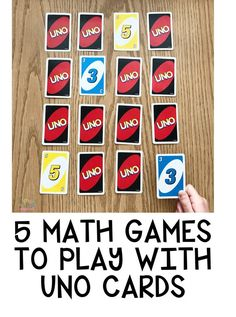 5 Math Games To Play with UNO Cards #mathlessons Math Games, Fun Math, Games To Play, Preschool Math, Kindergarten Math, Uno Cards, Teaching Activities, Craft Activities For Kids, Teaching Math