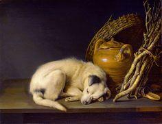 Gerrit Dou – 1650 - A Sleeping Dog Beside a Terracotta Jug, a Basket, and a Pile of Kindling Wood