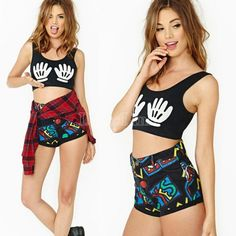 Women's Super Sexy Summer T-shirt Palm Pattern Sleeveless Short Tops Blouse Black