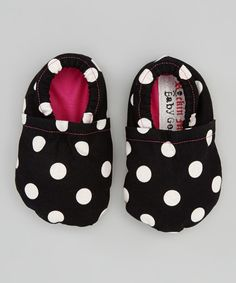 Take a look at this Rockin Mama Baby Gear Black  White Polka Dot Booties on zulily today!