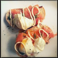 My easy Atlantic salmon, poached eggs, capers and Kewpie mayo brunch