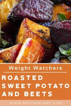 Roasted Sweet Potatoes and Beets with Weight Watchers Points Recipe. An easy, healthy, vegetarian and gluten free vegetable side dish. Beets, Sweet Potatoes, Onions, Olive oil, and garlic powder. MyWW Points: 7 Green Plan, 7 Smart Points Weight Watchers Vegetarian, Weight Watchers Meals, Roasted Beets, Roasted Vegetables, Veggies, Ww Recipes, Side Dish Recipes, Roasted Sweet Potatoes, Vegetable Side Dishes