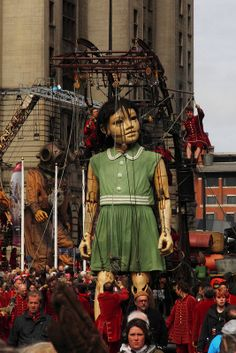 """Little Giant Girl walks along the Strand followed by her Uncle See my other images from """"events in Liverpool"""" by going to https://www.flickr.com/photos/wellsie82/sets/72157637522767906  #giants #liverpool #royaldeluxe #seaodyssey #giantspectacular #streettheatre"""