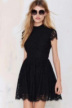 Lace Dress - Black | LBD | Fit and Flare | Open Back