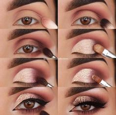 Eye makeup for brown eyes; Augen Make-up Tutorial; Augen Make-up für braune Augen; Augen Make-up natürlich; Eye makeup for brown eyes; Make up – up - Natural Smokey Eye, Natural Eye Makeup, Natural Eyes, Makeup For Brown Eyes, Smoky Eye, Eye Makeup Steps, Smokey Eye Makeup, Eyeshadow Makeup, Sparkly Eyeshadow