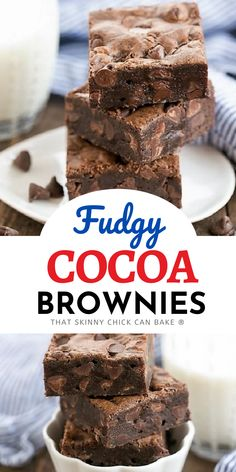 Fudgy Cocoa Brownies - Thick and chewy with an extra boost of chocolate! Rich fudgy brownies loaded with chocolate chips are a delightful treat for brownie lovers. An easy one-bowl recipe. Cocoa Brownies, Chewy Brownies, Homemade Brownies, Homemade Desserts, Delicious Desserts, Dessert Recipes, Yummy Food, Chicke Recipes, Vegetarian Chocolate