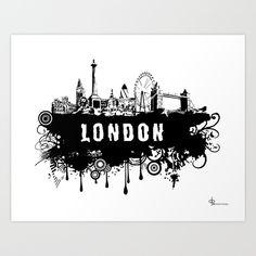 London+Skyline+Art+Print+by+Gary+Barling+-+$18.72 society 6 art
