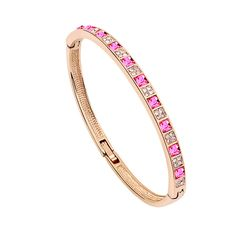 Romantic Rose Gold Plated Single-layer Square Crystals Elements Mounted Bangles Bracelet for Female Crystal from Swarovski