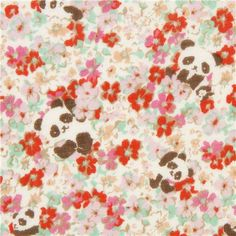 cute panda bear double gauze fabric with florets from Japan 1 Panda Bears, Modes4u, Cute Panda, Double Gauze Fabric, Cotton Lights, Small Flowers, Fabric Design, Delicate, Kawaii