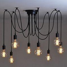 Lemonbest Vintage E27 Industrial Fixture Retro Pendant Light Ceiling Lamp Chandelier 8 Bulb Light Sockets Lemonbest®