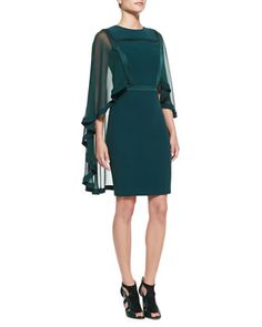 Sheath Dress with Sheer Cape by Elie Saab